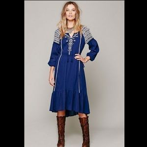 Free People blue dream weaver embroider maxi dress